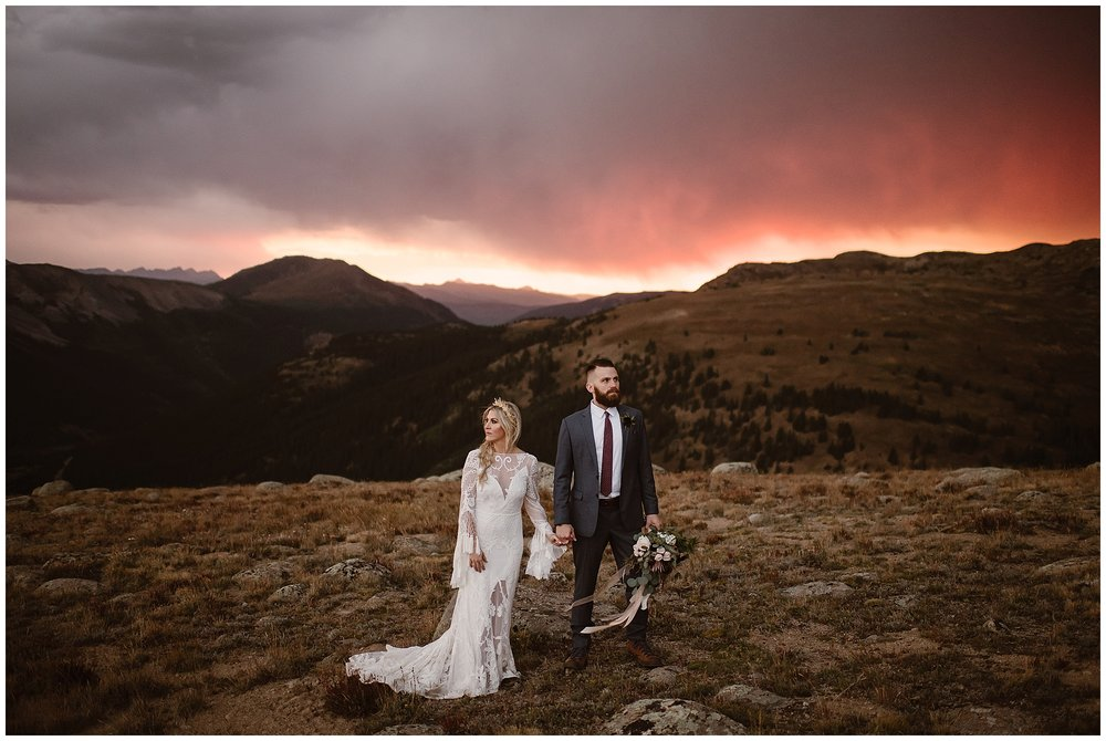 Eloping at sunrise or sunset gives you dramatic photos and an incredible experience on your elopement wedding day. Where you elope and how you say your vows matters! Photo by Maddie Mae, Adventure Instead Elopement Photographers.