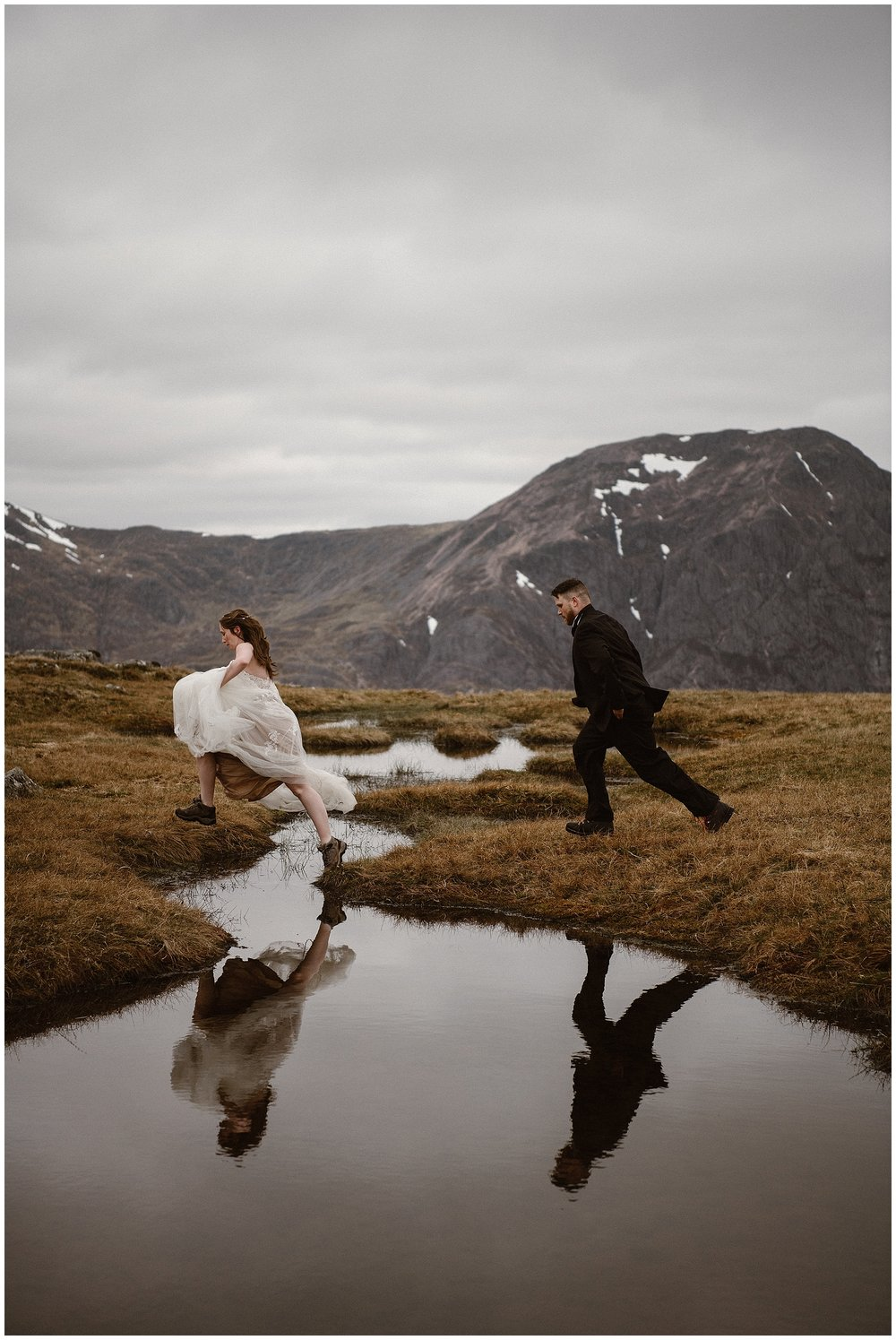 Embrace adventure on your elopement day! This couple chose to elope in the Scottish Highlands and jumped through the bogs all day. Where you elope and how you say your vows matters! Photo by Maddie Mae, Adventure Instead Elopement Photographers.
