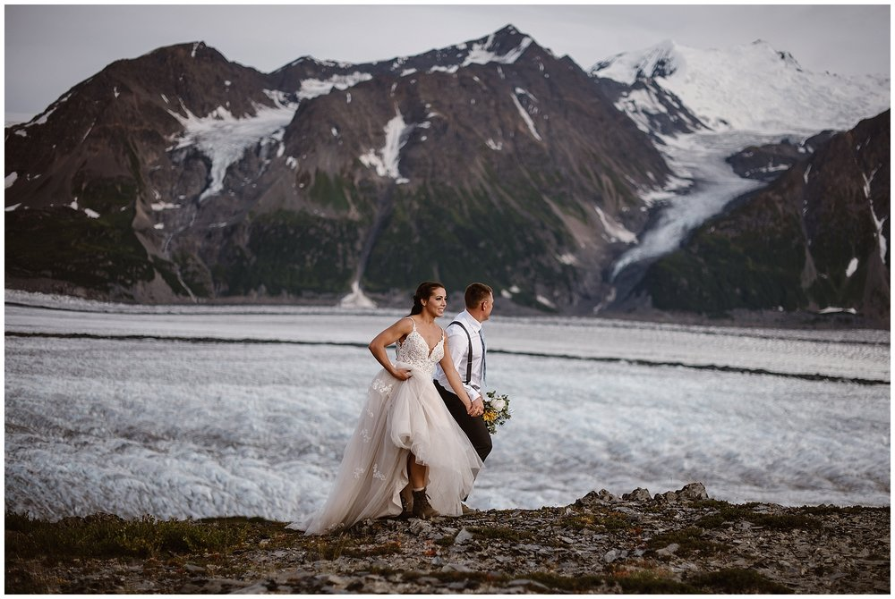 Embrace adventure on your wedding day! This couple chose to elope on the snowy glacier fields of Alaska. Where you elope and how you say your vows matters! Photo by Maddie Mae, Adventure Instead Elopement Photographers.