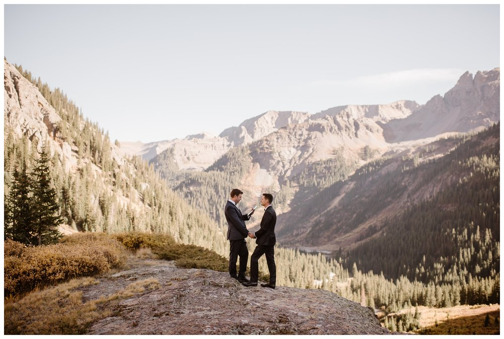 A self solemnizing ceremony is when you and your partner are the only two witnesses to your elopement. It is a legal way to get married at certain spots around the world. Where you elope and how you say your vows matters! Photo by Maddie Mae, Adventure Instead Elopement Photographers.