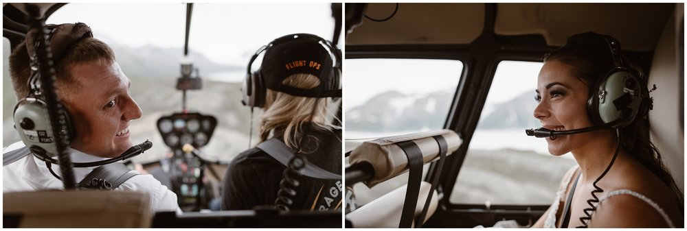 This split image shows both Jordyn and Connor inside the helicopter as it flies them to their next destination. Jordyn, on the right, looks to the front and smiles at Connor, while Connor, on the left, looks back at Jordyn, smiling as they embrace every moment of their Alaska helicopter elopement story.