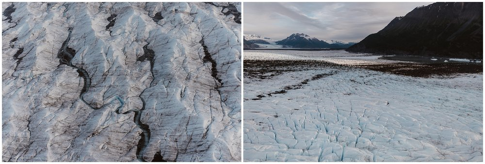 This side-by-side image captures a birds-eye-view of beautiful glacial landscape from the helicopter. In the photo on the left, a giant glacier is shown from the top and pure, blue water is running down it, carving routes through the glacier. In the photo on the left, an icy ground is shown in the midst of a glacial lake and an icy mountain peak in the distance.