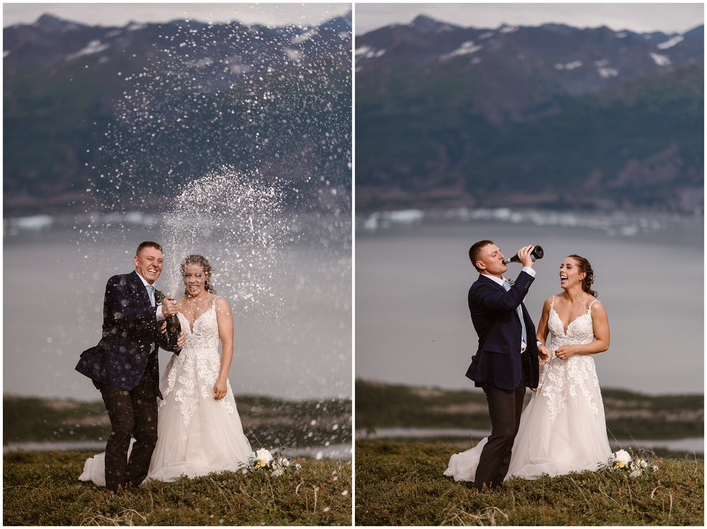 This collage shows two images side-by-side,. In the photo on the left, the groom, Connor, pops the champagne after he and Jordyn's elopement ceremony. Champagne sprays everywhere as Jordyn and Connor stand in a green meadow in front of a glacial lake and mountains. In the photo on the right, Connor takes a swig of the champagne as Jordyn watches him, laughing.