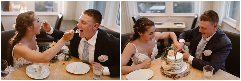 In these side-by-side elopement photos, Jordyn and Connor cut into and indulge in their confetti wedding cake. as part of their reception after eloping. In the photo on the left, Jordyn and Connor feed each other pieces of confetti cake. In the photo on the right, the two cut into the cake together.