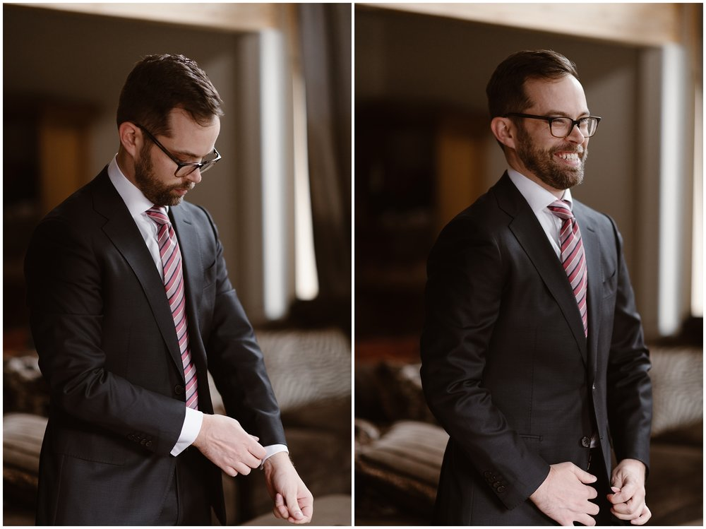 In these side-by-side elopement pictures captured by adventure wedding photographer Adventure Instead, the groom, Logan, puts on his suit jacket in the moments before his Colorado mountain wedding. In the picture to the left, Logan adjust his shirt sleeve and in the elopement photo to the right, Logan sports a silly-excited grin.