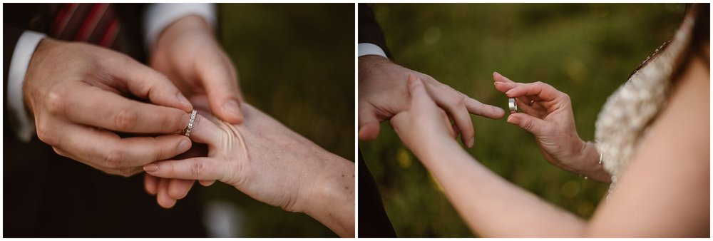 These side-by-side adventure elopement photos show Katie and Logan, the bride and groom, putting their wedding bands on each other's fingers. In the photo on the left, Logan slides a diamond band onto Katie's finger while Katie slides a silver band onto Logan's finger in the photo on the right. These rings were one of the unique eloping ideas that Katie and Logan had for their Colorado mountain wedding.