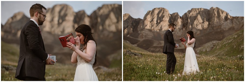 Katie and Logan, the bride and the groom, read their vows to each other in these side-by-side elopement photos shot by Adventure Instead, an elopement wedding photographer. In these elopement pictures, Katie reads her vows to Logan, wiping away tears during her elopement ceremony.