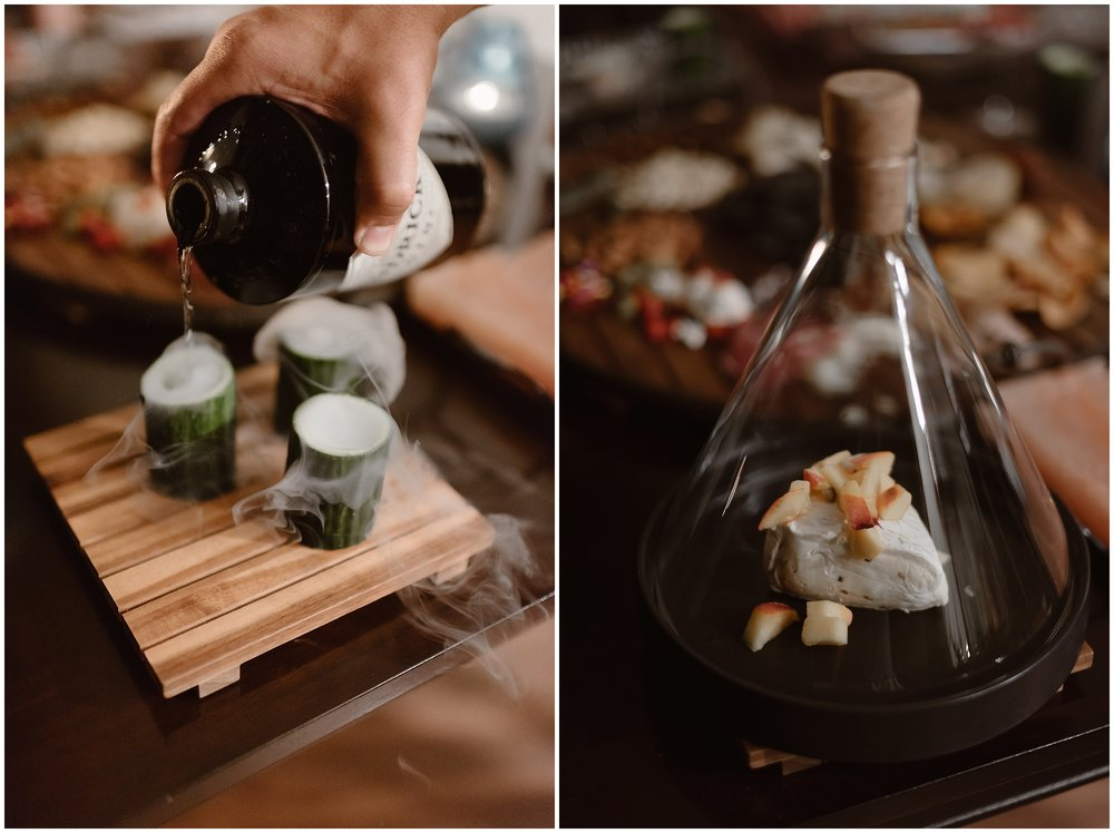In these side-by-side elopement pictures, the private chefs continue to prepare the gourmet dinner that the bride and groom requested for their reception after eloping. This is just one of the unique eloping ideas that can be a part of a destination elopement.