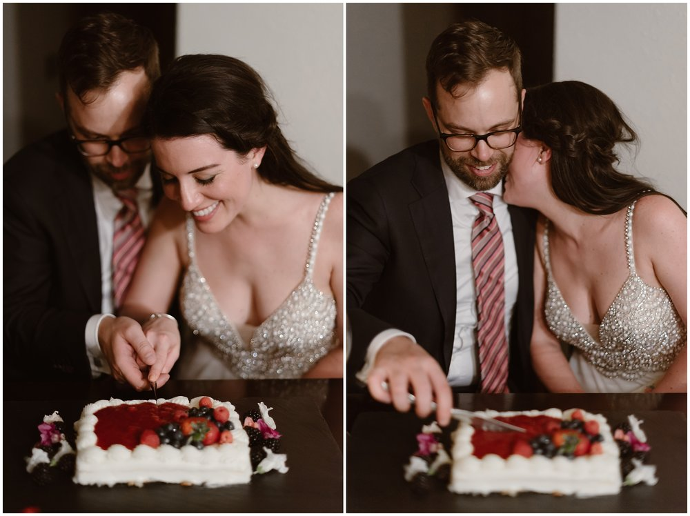 These side-by-side elopement photos show Katie and Logan, the bride and groom, cutting into their wedding cake. In the photo on the left, they both hold a knife as they cut into a white and strawberry-sauce-covered cake. In the photo on the right, Katie leans into Logan's neck as he cuts the rest of the cake for them.