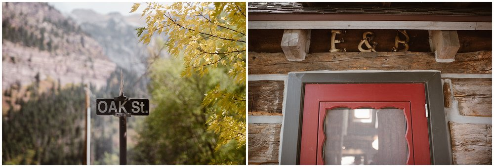 """In these side-by-side elopement photos captured by elopement wedding photographer Adventure Instead, the Ouray, Colorado cabin is shown . In the image on the left, a quaint street sign that says """"oak street"""" is shown, and in the image to the right, the bright red door with dark trim has an """"E+B"""" hanging over it, just one of the unique eloping ideas that Brian and Ernie included in their colorado elopement."""