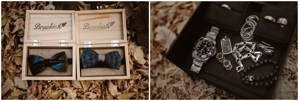 In these side-by-side elopement pictures captured by Colorado elopement photographer Adventure Instead, the small, intricate details of Brian and Ernie's bow ties, watches, and cuff links are shown. The two picked out custom accessories for their Colorado mountain wedding—just one of the ways that they integrated unique eloping ideas into their small simple wedding.