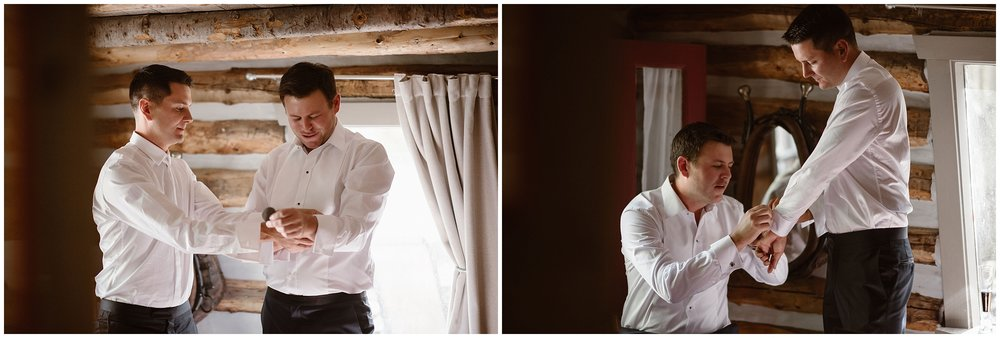 In these side-by-side elopement photos captured by Adventure Instead, a Colorado elopement photographer, the grooms are shown helping each other adjust their black diamond cuff links as they prepare for their Colorado elopement together. They chose to have a 4x4 elopement as part of their small simple wedding.