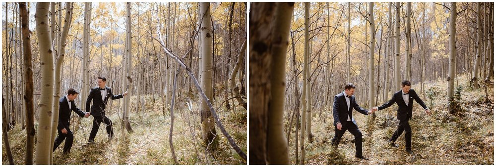 Brian and Ernie, the two grooms, romp through a golden wonderland of bright yellow aspen trees in these side-by-side elopement photos captured by Adventure Instead, a Colorado elopement photographer.