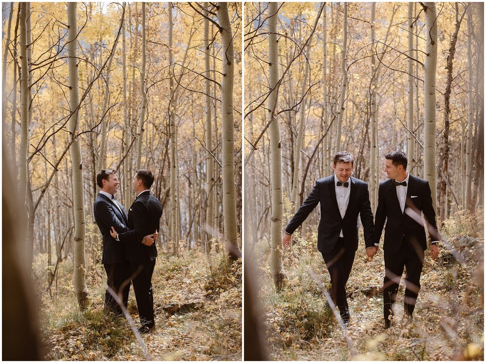 In these side-by-side elopement pictures captured by Adventure Instead, an elopement wedding photographer, Ernie and Brian, the two grooms, walk hand-in-hand through an aspen grove during the fall. In the photo on the left, Brian and Ernie embrace. In the elopement photo on the right, the two grab hands and continue to traipse through the forest before their elopement ceremony.