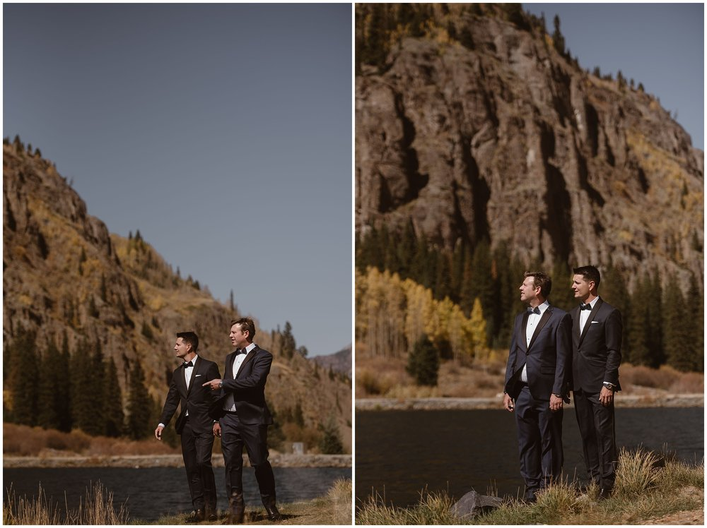 These side-by-side elopement photos captured by Adventure Instead — an elopement wedding photographer— show Ernie and Brian standing together by a gorgeous alpine lake in the Ouray, Colorado mountain range. The two grooms chose this location for their small simple wedding because it held a special place in their heart and they wanted a Colorado mountain wedding.