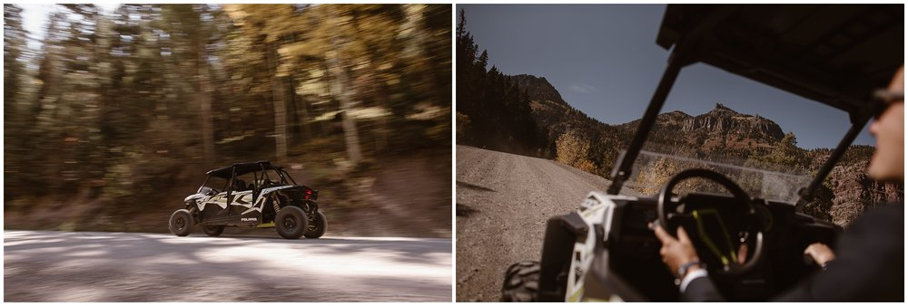 Brian and Ernie rented a side-by-side for their off-road wedding in Ouray, Colorado. In these side-by-side elopement photos, Brian and Ernie are seen zooming up a 4x4 trail for their adventurous destination elopement.