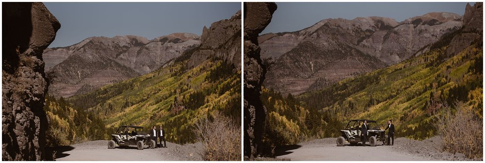 In these side-by-side elopement photos, Brian and Ernie's off-road vehicle is seen parked in the distance. Even further in the distance, giant mountain peaks and golden and green trees dot the background.