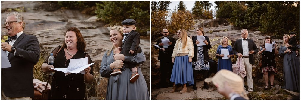 These side-by-side elopement photos shown Brian and Ernie's immediate family gathering around them for their elopement ceremony.