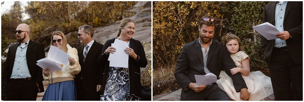 These side-by-side elopement pictures show Brian and Ernie's immediate family gathered around them, supporting them during their elopement ceremony. These elopement photos were captured by Adventure Instead, a Colorado elopement photographer.