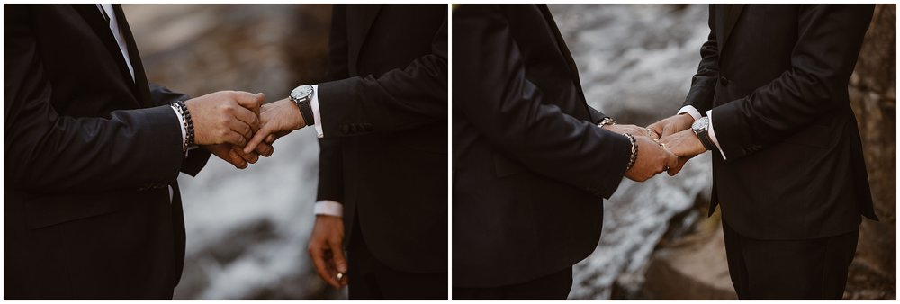 Brian and Ernie slip their wedding rings onto each other's fingers in these elopement photos capturing their elopement ceremony.