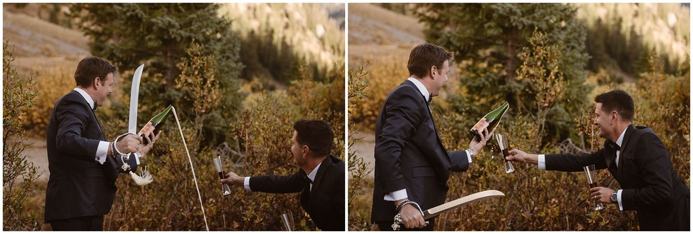 These side-by-side elopement photos show Ernie and Brian cutting the cork off the champagne bottle with their Samurai sword ad trying to pour the liquid bubbling out into their champagne glasses.