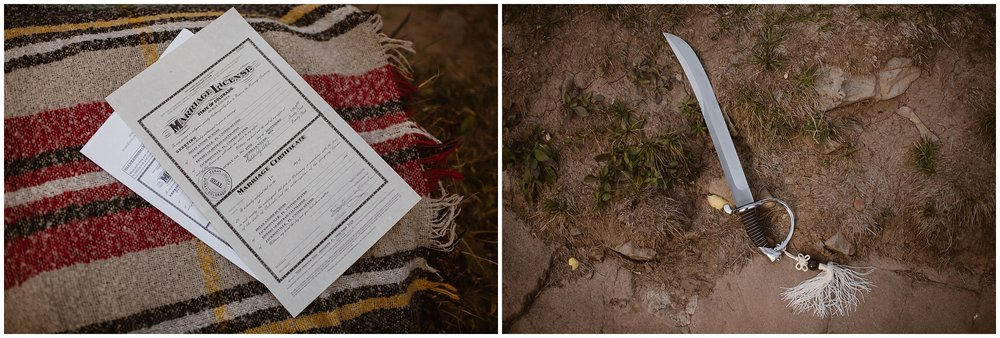 These side-by-side elopement pictures, captured by Colorado wedding photographer Adventure Instead, show the signed marriage license and the Samurai sword from Brian and Ernie's elopement ceremony.