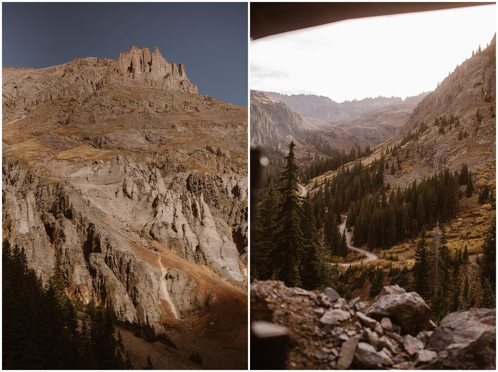 These side-by-side elopement photos show the San Juan Mountain range in all its golden splendor. In the image on the left, the tall, jagged, mountain peaks are shown. In the image on the right, a winding, off-road trail is shown carving through the mountain — the very road that Brian and Ernie wanted to drive for their 4x4 elopement.