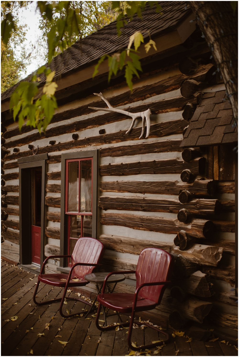 This image, captured by elopement wedding photographer Adventure Instead, shows the VRBO cabin that Brian and Ernie rented for their Colorado mountain wedding. While the two chose to have their elopement ceremony high up in the mountains for an off-road wedding, the reception after eloping was held at this adorable, crooked cabin.