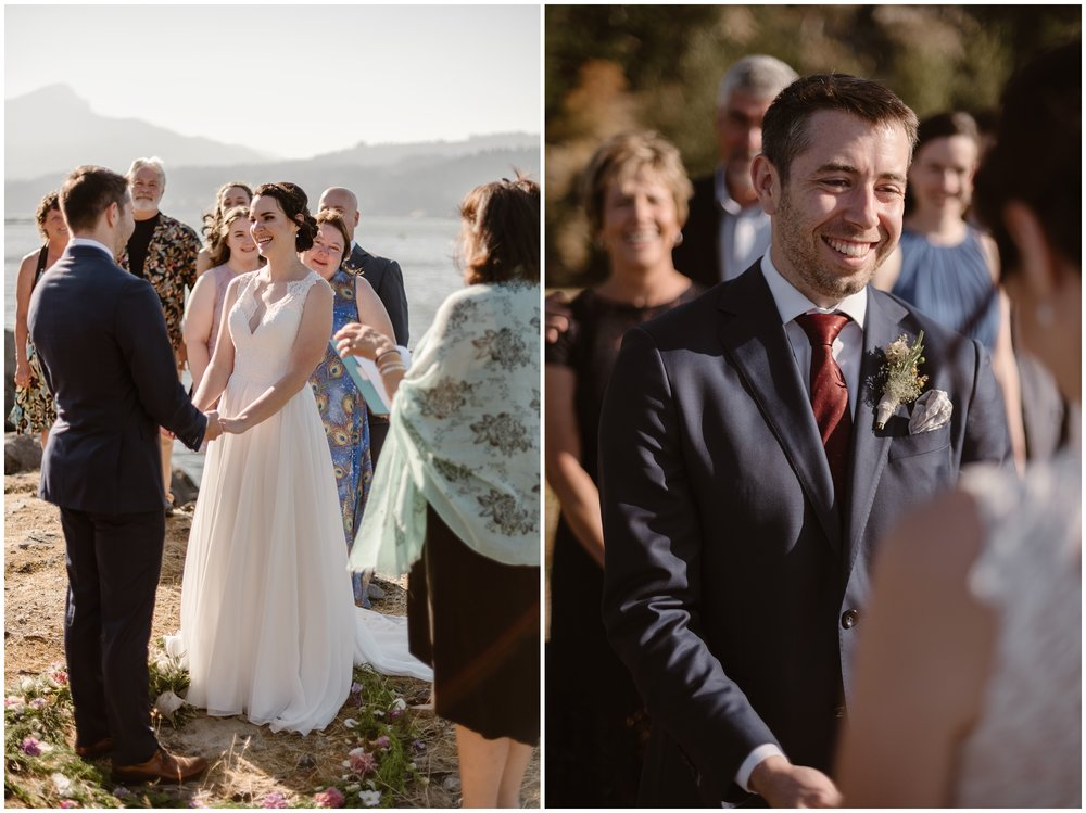 These side-by-side elopement photos (captured by Adventure Instead, an Oregon elopement photographer) show Lauryn and David during their elopement ceremony on the Columbia River Gorge. Surrounded by family, they take hands as an officiant marries them on the beautiful cliff side of the Columbia River.