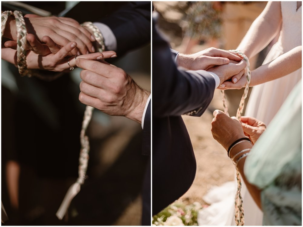 These side-by-side photos show Lauryn and David during their handfasting ceremony, one of the eloping ideas they wanted to include in their Columbia River Gorge elopement.