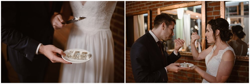 These side-by-side elopement photos show Lauryn and David, the bride an groom as they cut a slice of cake and bite into it during their party after eloping.