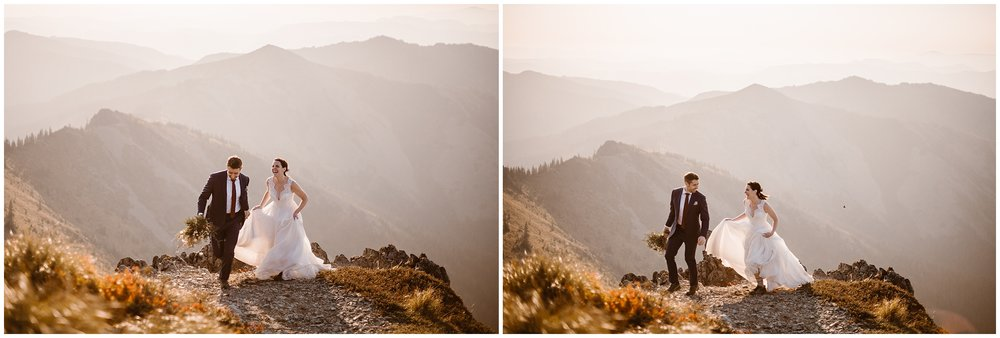 These side-by-side elopement photos show Lauryn and David at the top of the mountain, enjoying the view of the sunrise. These elopement pictures were captured by Washington state elopement wedding photographer Adventure Instead.