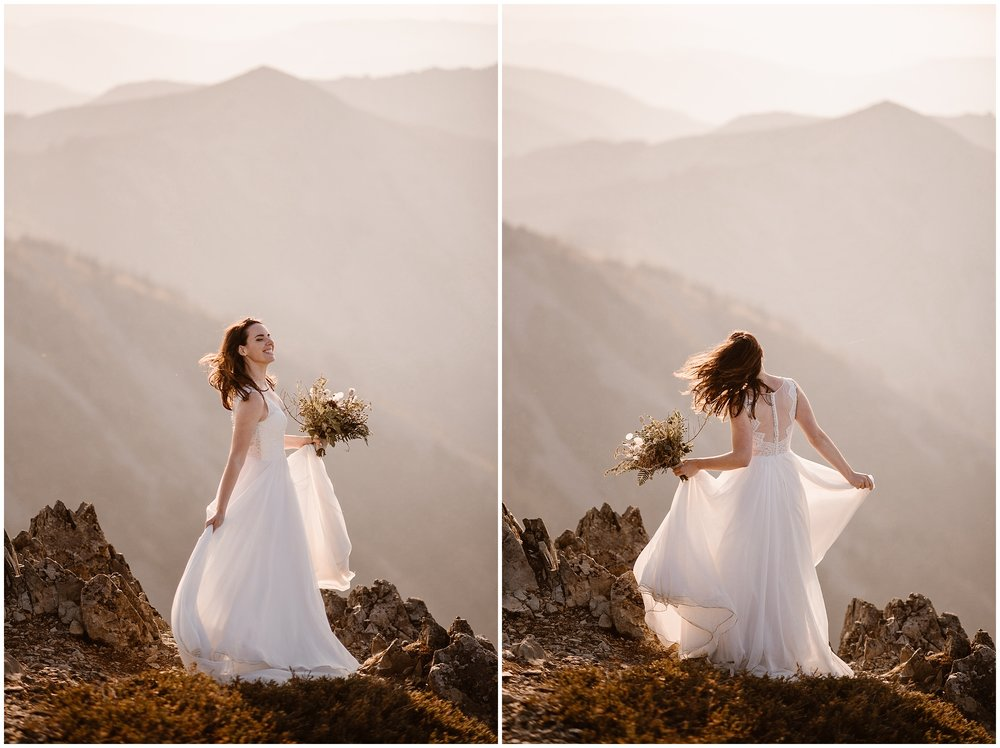 Lauryn dances around at the top of the mountain in these portrait-style wedding photos as part of their Washington elopement ceremony.