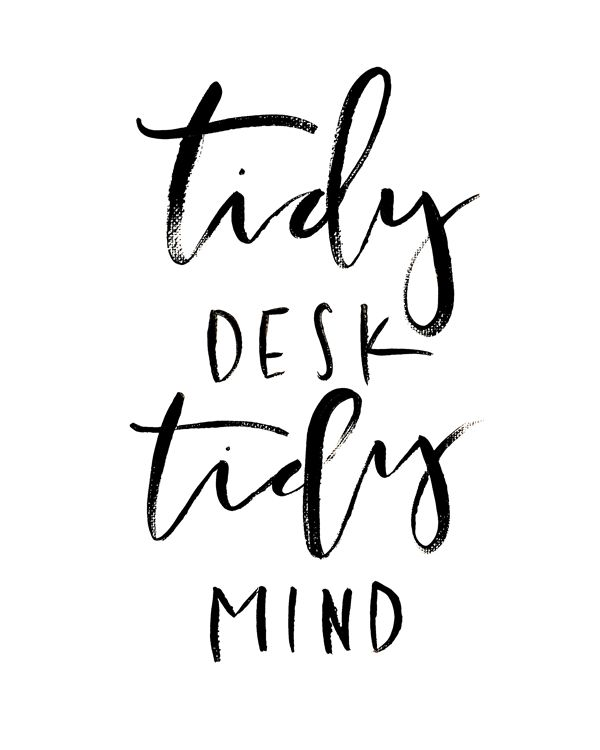 It's True - When your desk space is inspiring, clean, and organized it makes for a much more productive day. Take 10 minutes to organize your desk this morning whether you work from home or in an office. Anything that has not been utilized in the past month remove and place in storage. Open space is key. In terms of decoration or inspiration, change it on a quarterly or monthly basis. You'll know when you've seen the images around you enough or you're feeling stressed and bored. Make the space around you inspiring and beautiful. It will improve your work and help you to have a clear mind.