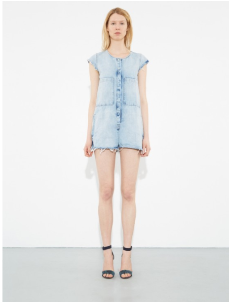 Denim Romper - Love this Denim Romper by A.OK. The light wash and raw hem would make it look oh so cute over a bathing suit with a baseball cap. Could go to night: iif you pair it with some nice strappy heels and  maybe even some sheer socks. Visit OAK NYC to buy.