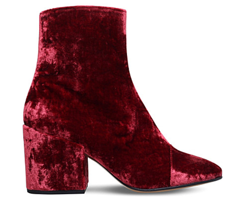 VELVET BOOTIE:Velvet is back yet it's no longer reserved for fancy occasions. This soft fabric is now out and about town in a new array of colors that will make you wanna shake-yah- thang (...watch yah self!). As you should know by now I wear a lot of black and white, so these jewel-toned beauties will truly be the spice of my life. This Wine or Bordeaux color is also very present this season (and the next few) in velvet bell-bottoms, 1970's inspired mod mini skirts, long sleeve a-line dresses, duster coats, wrap shoes, accessories and belts. These Dries Van Noten velvet ankle booties come equipped with a hidden side zip fastening, a badazz block heel,and that beautiful almond toe. Wear with a washed out pair of your best vintage looking skinny or straight leg denim slit or rolled at the hem (use cheese grinder for extra worn in effect). Or, pair them with a long sleeve mini dress and statement gold accessories.Buy them now at Saks Fifth Avenue, and here. Need a cheaper version I'd go with these H&M ox blood red polyester ankle booties. Complete with inside zippers, satin lining, faux leather insoles, and rubber soles. I think they would do the trick as well. Buy them here!!