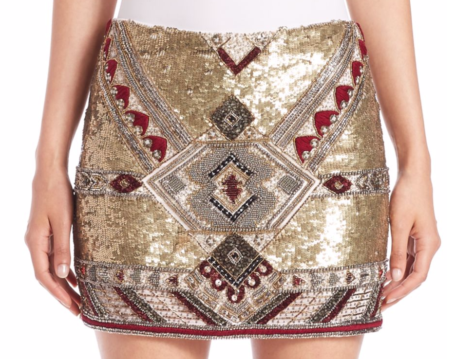 HELLENIC SEQUINS: This is my pick for a statement mini skirt of the moment. Alice + Olivia  Elana Embellished Mini Skirt. Buy it here (I'm a size two - if you're feeling generous :). If your best asset is your legs than this is your skirt, if your legs are not your best asset go for knee length or longer. Metallics, embroidery, sequins, and embellishments in general are every where. For my clients, I recommend they try the trend in an accessory, this way their is not a large commitment. Especially, in plus sizes, wearing the embellished trend should be kept minimal or in pieces that accentuate and elongate your figure. Any questions, I am happy to answer, just use the contact page!