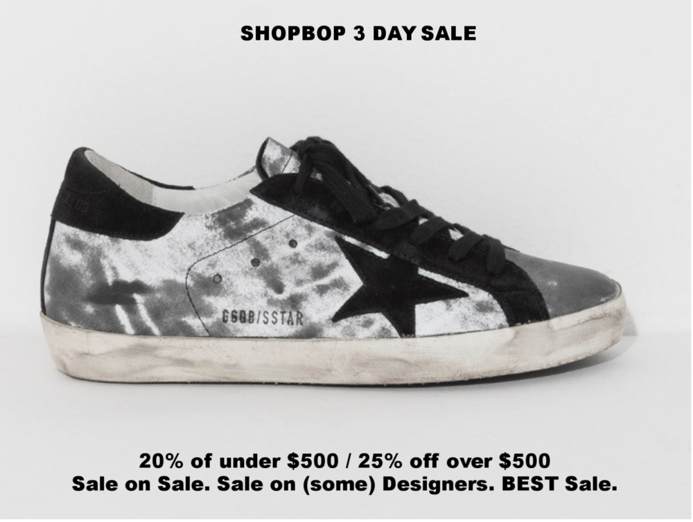 These are THE sneakers now. Black, White, worn in, and they look expensive/amazing in person.  By/Buy Golden Goose  here .