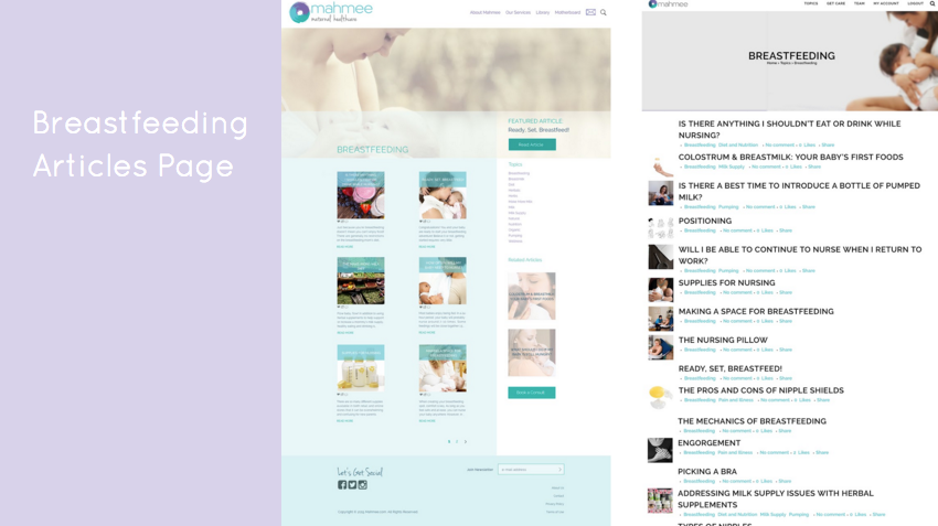 """Breastfeeding"" articles category page - New (left) and Old (right)"
