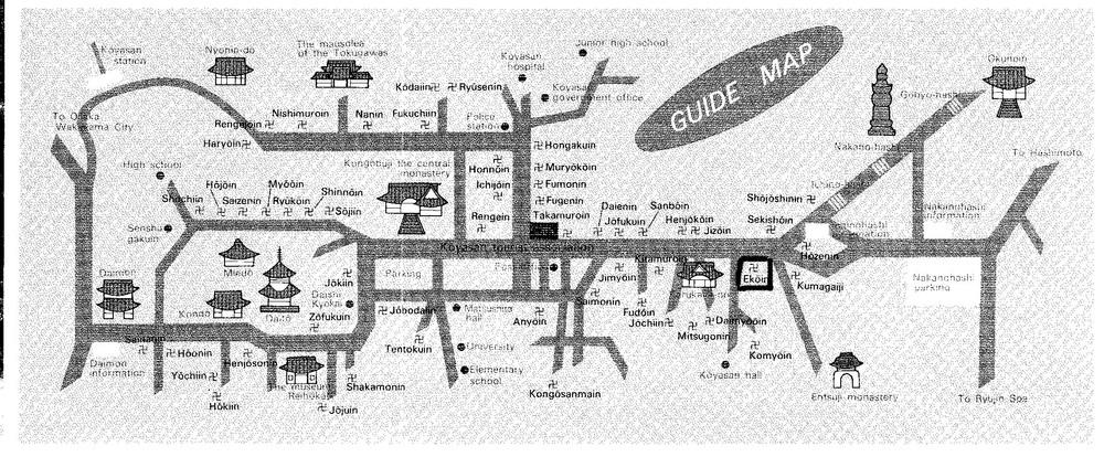 Mapa de Koyasan con los templos principales, hoy en día hay disponibles 50 templos para alojarse.