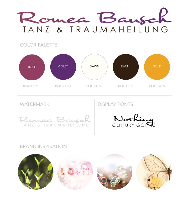 The Branding Board displays an idea for Romea's logo, color palette and font palette for the site.