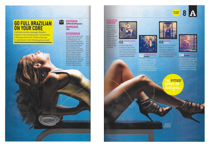 "Men's Health UK, August 2014 - ""The Fittest Women on Instagram"""
