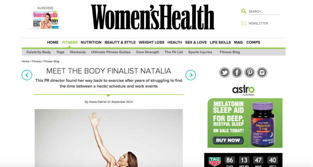 Women's Health UK website, September 2014