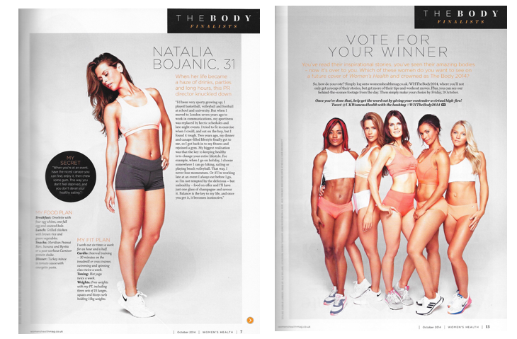 "Women's Health UK, October 2014 - ""The Body Competition"""