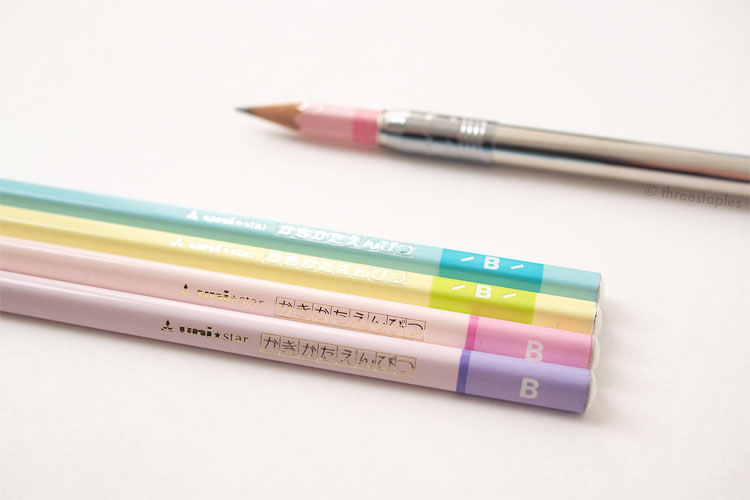 Mitsubishi Uni Star Kakikata: entry level line to teach kids how to hold pencils. I'm going to use all of these, as they're one of my favorites. Simple but colorful, and some of them are triangular! A quick search tells me they're still available in Japan. Amazing!