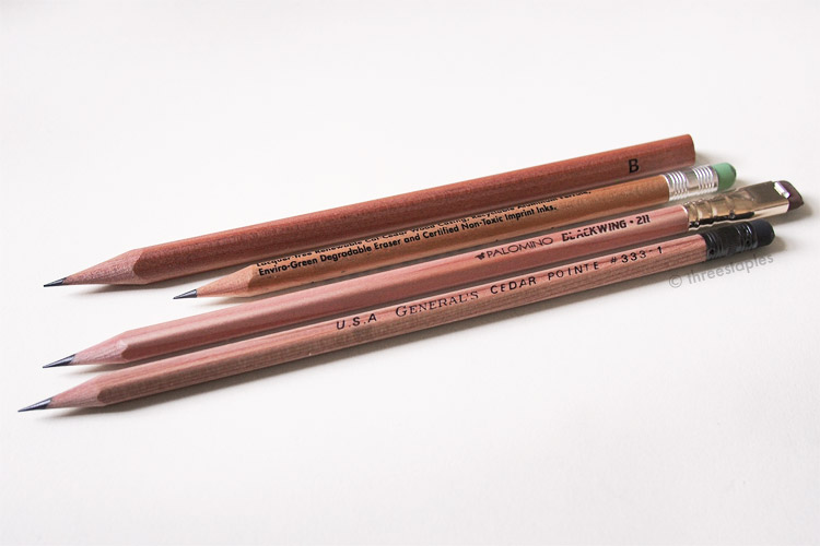 Natural-finish pencils made with incense cedar (from top): Kitaboshi Triangular, Field Notes, Blackwing Vol. 211, General's Cedar Pointe.