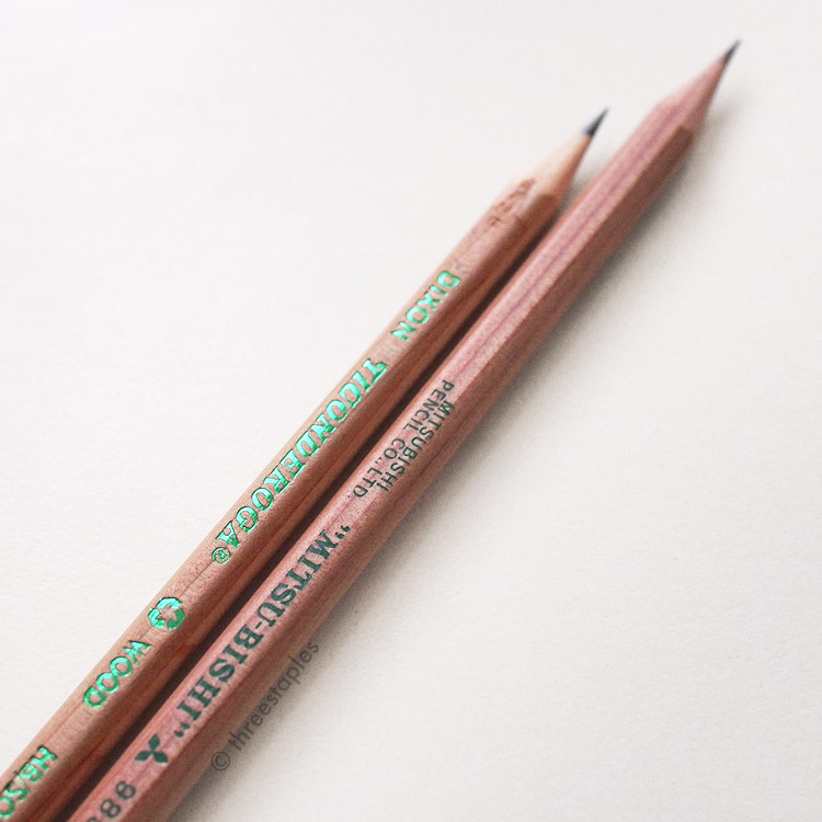 Metallic green imprint on Ticonderoga Renew (left) vs. the matte green imprint on Mitsubishi 9852EW (right).