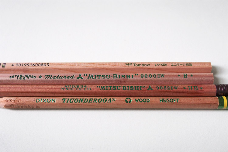 Pencils with green imprints (from top): Tombow LA-KEA, Mitsubishi 9800EW, Mitsubishi 9852EW, and Dixon Ticonderoga Renew.