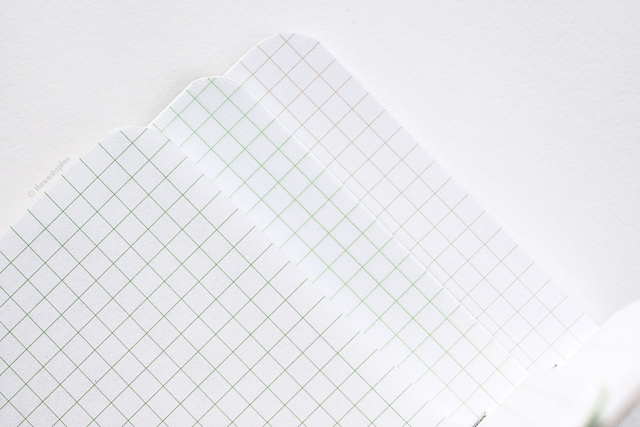 Quick grid comparison (from left): Green grid in Capsule AW14, slightly lighter green grid in GSG, Original light brown grid.