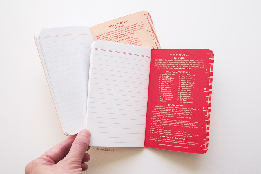 "Inside covers of both Capsule editions are printed in red, except in AW16 edition (right), the ""background"" of the text is printed instead, so that the pale orange color of the paper shows through as the color of the text. This red in AW16 is Pantone 185, the same color used for the ruled lines."
